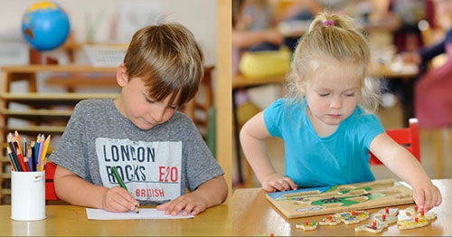 children learning with the Montessori method